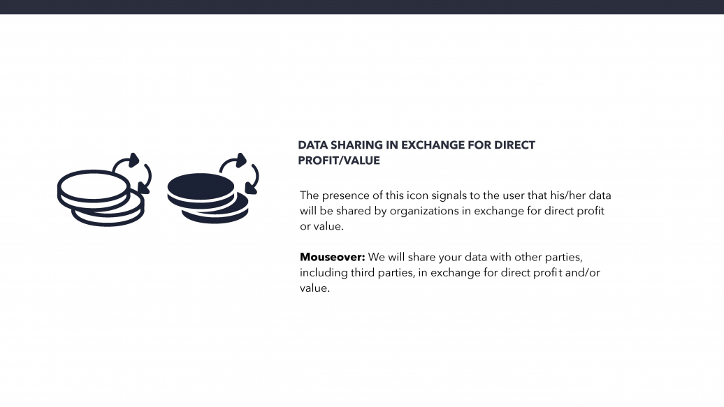 Data sharing in exchange for direct profit/value Icon