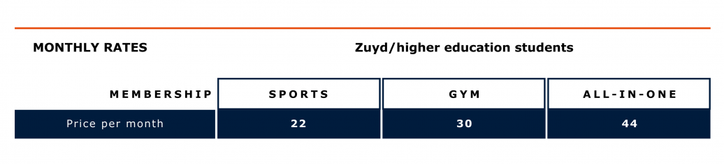 UM Sports monthly rates students Zuyd/higher education