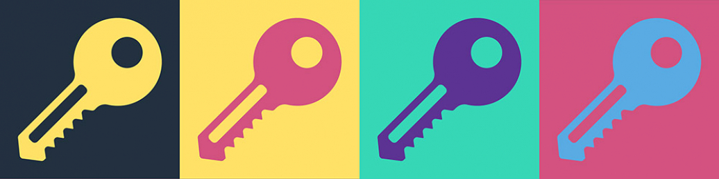 Four keys in different colours