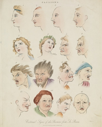 Image from Darwin's book Expression of the Emotions in Man and Animals. The image shows several illustrations of various emotions; from happy to angry.