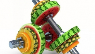 Dumbbells with fruits as weights