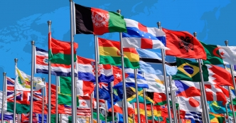 Flags of different countries from all over the world
