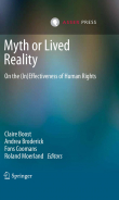 Book cover with abstract image and the title 'Myth or Lived Reality - On the (In)Effectiveness of Human Rights'