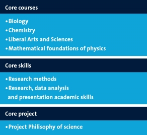 Core courses in biology, chemistry, physics and math
